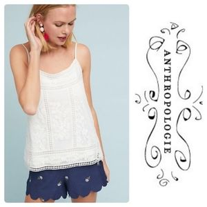 Anthro Meadow Rue lace cami tank white S